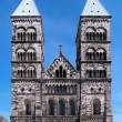 Facade of the Lund Cathedral, Sweden - Stock Photo