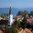Stock Photo: Zemun, view on St. Nicholas Church, Danube river and Belgrad