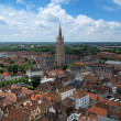 Top view on the Church of Our Lady in Bruges, Belgium - Stock Photo