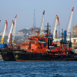 Red-black ships and harbour cranes in Vladivostok, Russia — Stock Photo