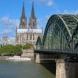 Royalty-Free Stock Photo: View on Cologne Cathedral and Hohenzollern Bridge