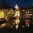 Постер, плакат: Evening view on the channels of Amsterdam and St Nicolas Church