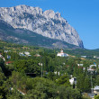 View on the mountain Ai-Petri and town Simeiz - Stock Photo