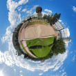 Spherical panorama of the central square of Ulan-Ude, Russia - Stock Photo