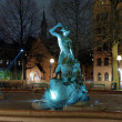 Tors fiske (Thors Fishing) - fountain in Stockholm at evening — Stock Photo