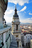 View at Budapest and belfry — Stock Photo