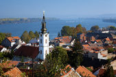 Zemun, view on the St. Nicholas Church, Danube river and Belgrad — Stock Photo