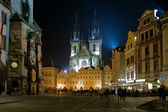 Evening view of Church of Our Lady before Tyn in Prague — Stockfoto
