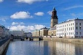 Big Harbor Canal and Christina Church in Gothenburg, Sweden — Stock Photo