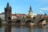 Charles Bridge in Prague at the end of a summer day — Stock Photo