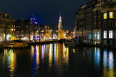 �vening view on the Munttoren (Coin Tower) in Amsterdam — Stock Photo