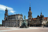 Church, Monument to King John and Dresden Castle — Stock Photo