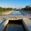 View from the dam on Iset river in the center of Ekaterinburg — Stock Photo
