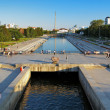 View from the dam on Iset river in the center of Ekaterinburg — Stock Photo #15762251