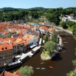 Stock Photo: View of Cesky Krumlov and rafting on Vltavriver