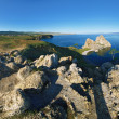Panorama of the shore of Olkhon Island on Baikal Lake - Stock Photo