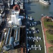 View on Media Harbour in Dusseldorf from TV tower - Stock Photo