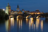 Evening view of the Charles Bridge in Prague — Stock Photo