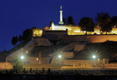 Evening view on the Kalemegdan fortress and Statue of the Victor — Stock Photo