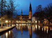 Uppsala Cathedral at evening, Sweden — Zdjęcie stockowe