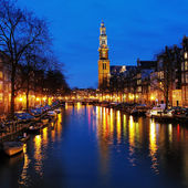 Evening view on the Western church in Amsterdam — Stock Photo