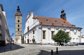 Black Tower and St. Nicholas Cathedral in Ceske Budejovice — Stock Photo