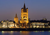 Evening view on Great St. Martin Church in Cologne — Stock Photo
