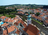 View of Cesky Krumlov and St. Jost Church — Stock Photo