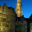 Evening view of Belfort tower in Bruges, Belgium — Stock Photo