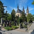Vysehrad cemetery and basilica of Peter and Paul in Prague - Stock Photo
