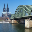 View on Cologne Cathedral and Hohenzollern Bridge — Stock Photo #15914991