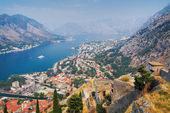 вид на котор и которский залив, черногория — Стоковое фото