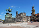 Monument to King John, Church and Dresden Castle — Stock Photo