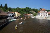 Rafting on Vltava river in Cesky Krumlov — Stock Photo