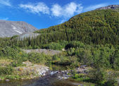 Khibiny Mountains with Risjok river — Stock Photo