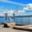 Fishers with the fishnet - the sculpture in Petrozavodsk, Russia — Stock Photo