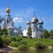 Churches on the shore of Vologda river — Stok fotoğraf