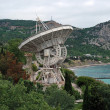 Panorama of Black Sea coast with Radiotelescope, Crimea - Stock Photo