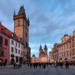 Stock Photo: Prague, Old Town City Hall and Church of Our Lady before Tyn