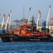 Rescue ships and harbour cranes in Vladivostok, Russia — Stock Photo
