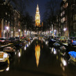 Evening view on the South church in Amsterdam — Stock Photo