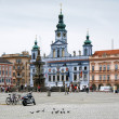 City Hall of Ceske Budejovice and fountain Samson — Stock Photo