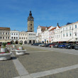 Central square of Ceske Budejovice and Black Tower — Stock Photo