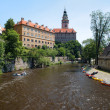 Cesky Krumlov Castle and rafting on Vltava river — Stock Photo
