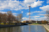 TV Tower and Svislach river in Minsk, Belarus — Stock Photo