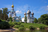 Churches on the shore of Vologda river — Stock Photo