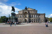 Dresden Opera House and monument to King John of Saxony — Stock Photo