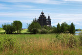 Wooden churches on island Kizhi — Stock Photo