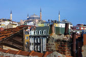 Hagia Sophia over the houses and roofs of Istanbul — Stock Photo