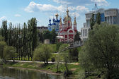 Tambov, embankment of Tsna River with churches, Russia — Stok fotoğraf